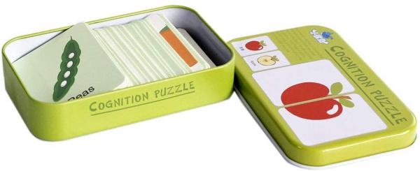 Puzzle de asociere 32 piese dinlemn 16 imagini- cutie de metal fructe si legume 4
