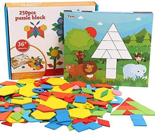 Joc Tangram din lemn 250 piese geometrice multicolore 1
