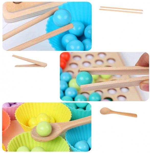 Joc Montessori de indemanare si asociere culori cu bile colorate si bete din lemn 1