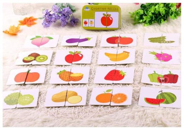 Puzzle de asociere 32 piese dinlemn 16 imagini- cutie de metal fructe si legume 0
