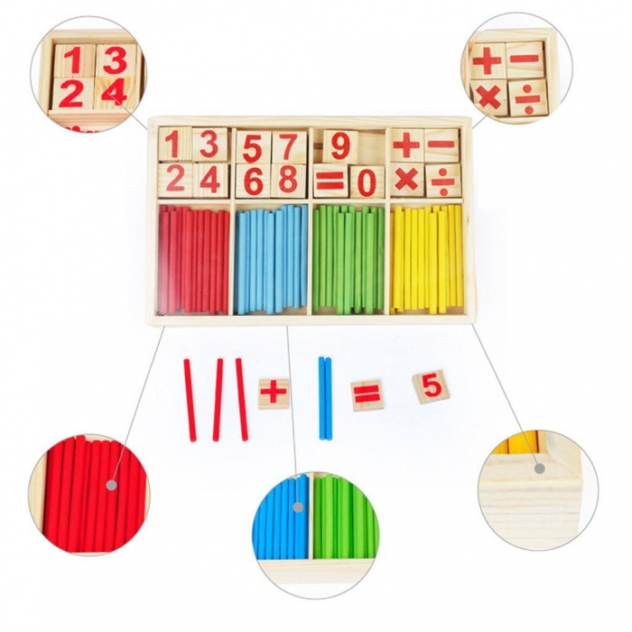 Joc din lemn Invatam operatiile matematice 3