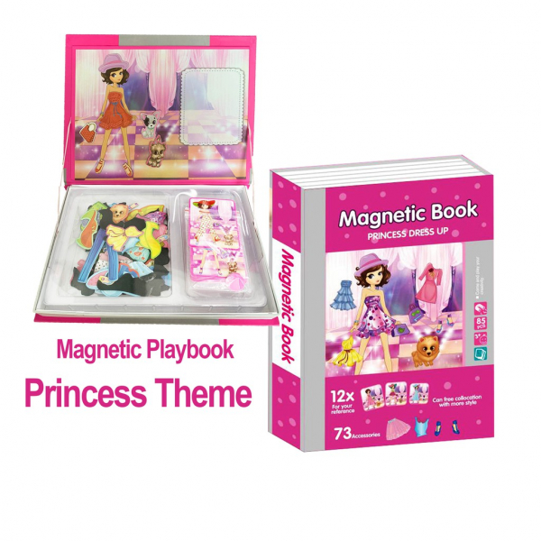 Joc educativ Carte magnetica cu piese puzzle Princess Dress Up 3