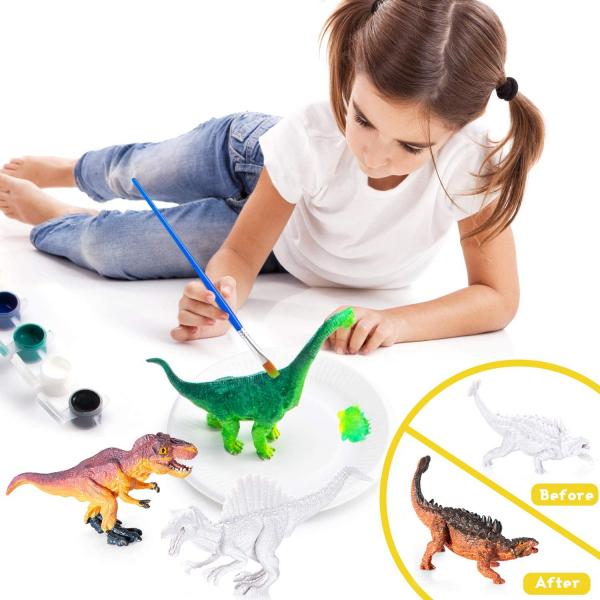 Kit Complet desen -Picteaza dinozaurul cu figurine acuarele si pensula 2