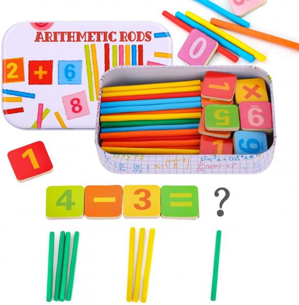 Joc de aritmetica  cu cifre simboluri matematice magnetice si betisoare din lemn 1