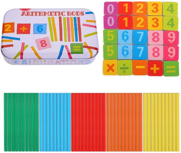 Joc de aritmetica  cu cifre simboluri matematice magnetice si betisoare din lemn 3