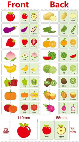 Puzzle de asociere 32 piese dinlemn 16 imagini- cutie de metal fructe si legume 1