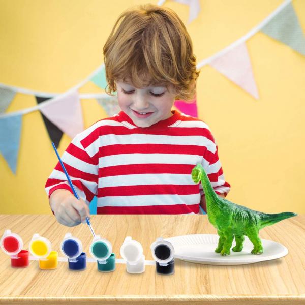 Kit Complet desen -Picteaza dinozaurul cu figurine acuarele si pensula 3