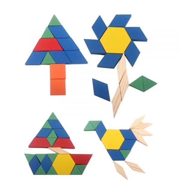Joc Tangram din lemn 250 piese geometrice multicolore 2