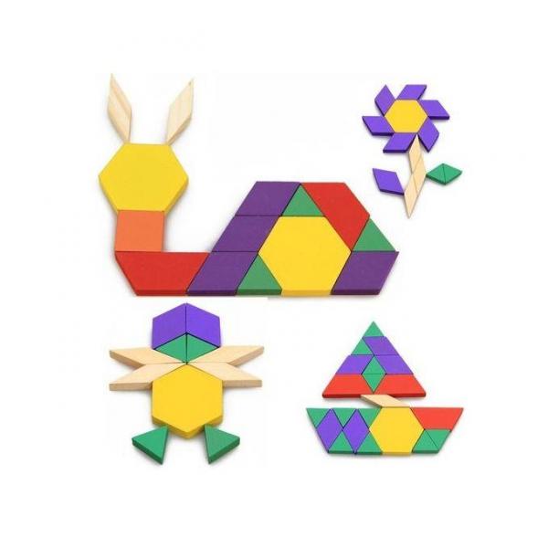 Joc Tangram din lemn 250 piese geometrice multicolore 3