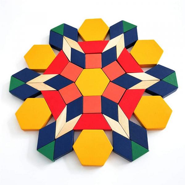 Joc Tangram din lemn 250 piese geometrice multicolore 4