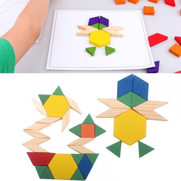 Joc Tangram din lemn 250 piese geometrice multicolore 5