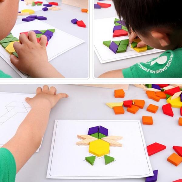 Joc Tangram din lemn 250 piese geometrice multicolore 6