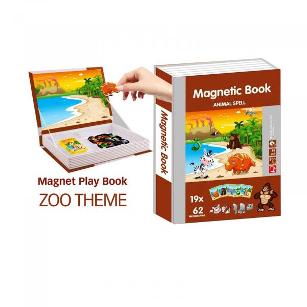 Joc educativ Carte magnetica cu piese puzzle Magnetic Book Animal Spell 2