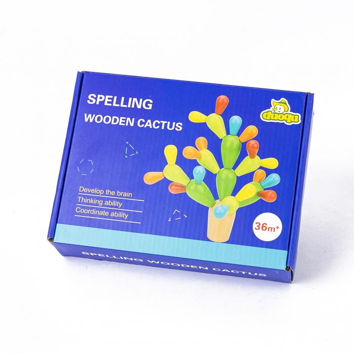Cactus din lemn colorat-Jucarie de tip Montessori 3