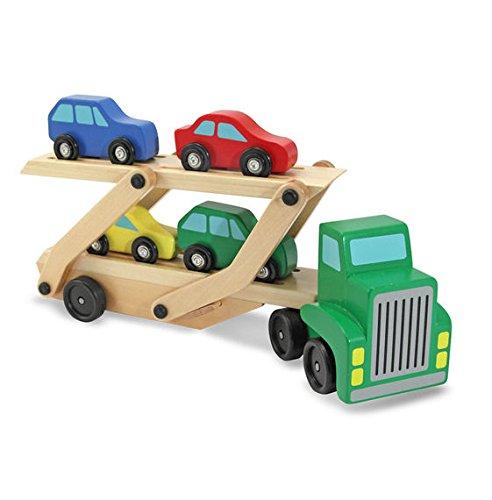 Camion din lemn cu platforma mobila si 4 masinute colorate [0]