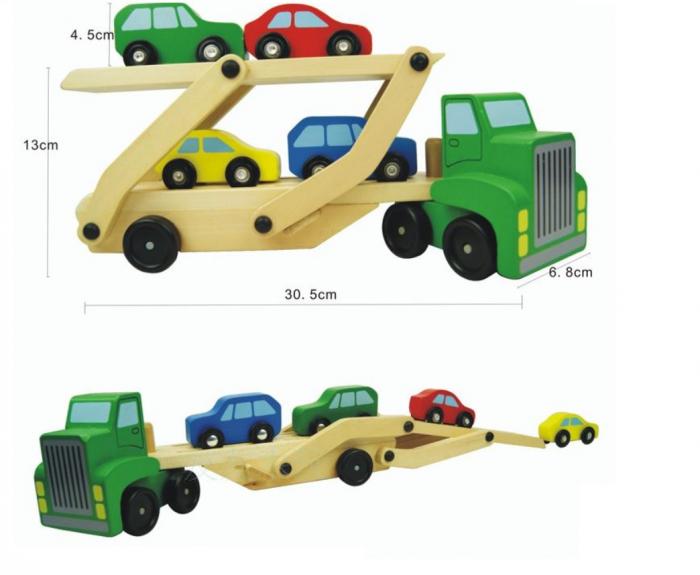 Camion din lemn cu platforma mobila si 4 masinute colorate [3]