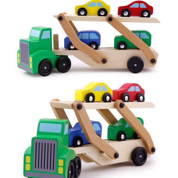 Camion din lemn cu platforma mobila si 4 masinute colorate [2]