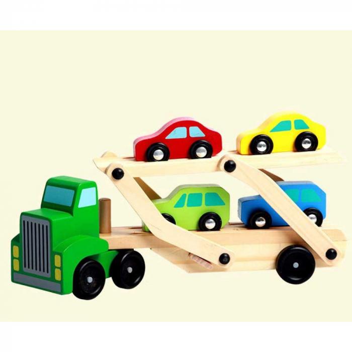 Camion din lemn cu platforma mobila si 4 masinute colorate [1]