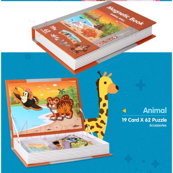 Joc educativ Carte magnetica cu piese puzzle Magnetic Book Animal Spell 3