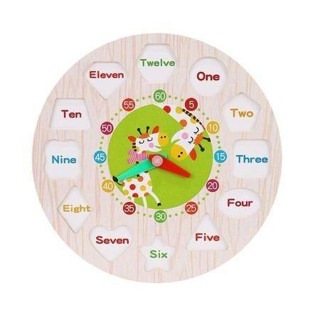 Ceas multifunctional Montessori, din lemn, cu forme geometrice si cifre de snuruit 3