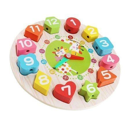 Ceas multifunctional Montessori, din lemn, cu forme geometrice si cifre de snuruit 0