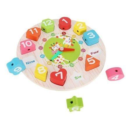 Ceas multifunctional Montessori, din lemn, cu forme geometrice si cifre de snuruit 5