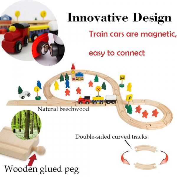 Circuit din lemn cu locomotiva semne de circulatie , braduti , cladiri si omuleti 48 de piese [6]