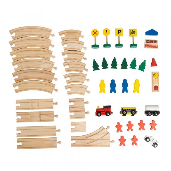 Circuit din lemn cu locomotiva semne de circulatie , braduti , cladiri si omuleti 48 de piese [7]