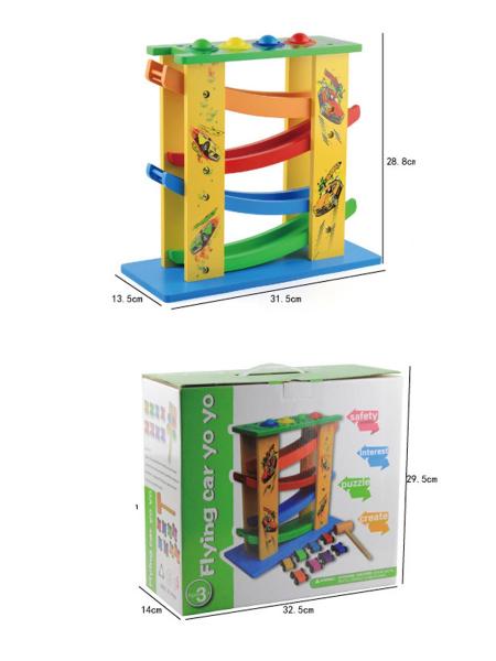 Circuit lemn  cu 8 masinute ciocanel cu bile colorate si mini popice . 3