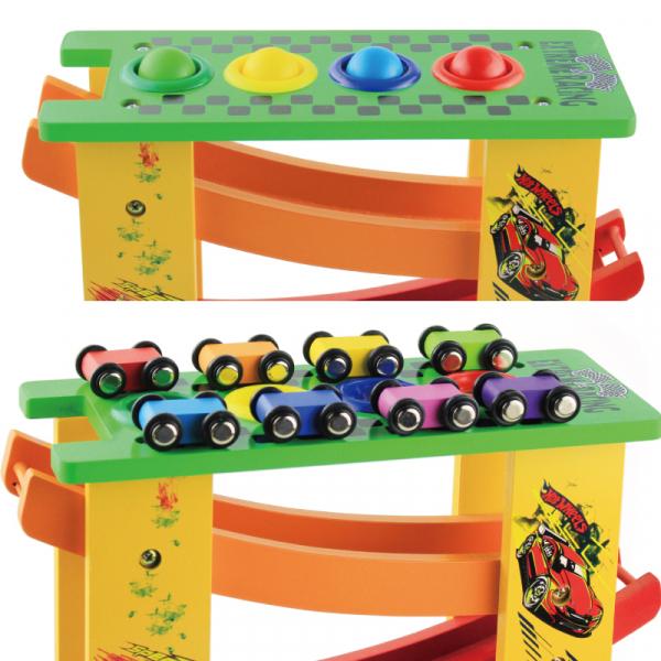 Circuit lemn  cu 8 masinute ciocanel cu bile colorate si mini popice . 2