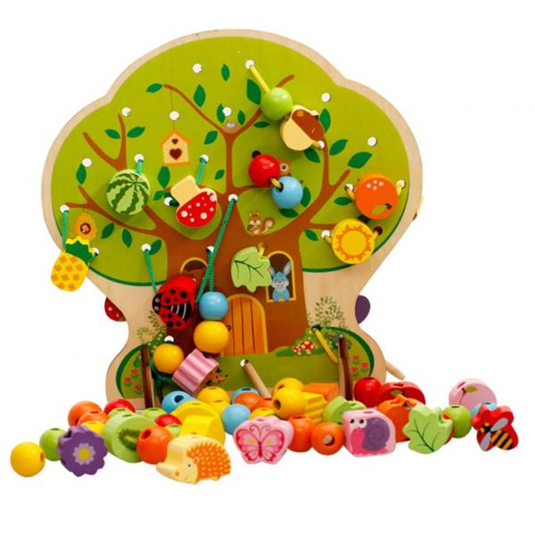 Copac Montessori Joc de snuruit cu fructe din lemn 102 piese [0]