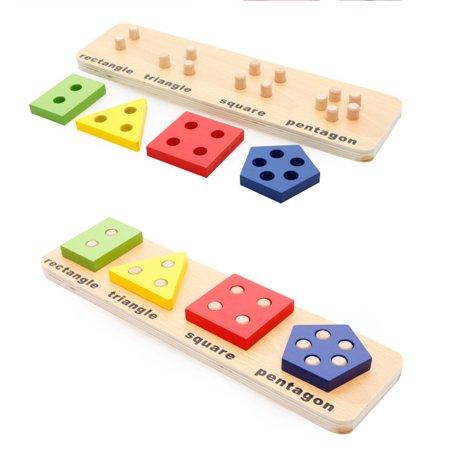 Joc educativ Montessori din lemn  Geometrical shape coghition board D, 4 forme geometrice, Multicolor 2