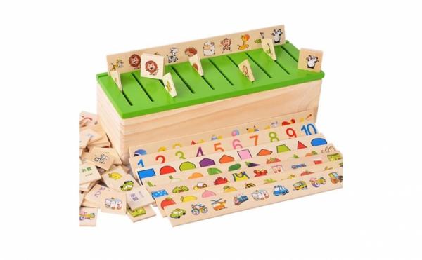 Joc Montessori In limba Romana de sortare si asociere cu 88 de piese din lemn 1