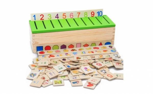 Joc Montessori In limba Romana de sortare si asociere cu 88 de piese din lemn 2