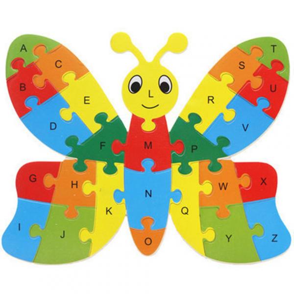 Fluture puzzle din lemn invata alfabetul si numerele 0