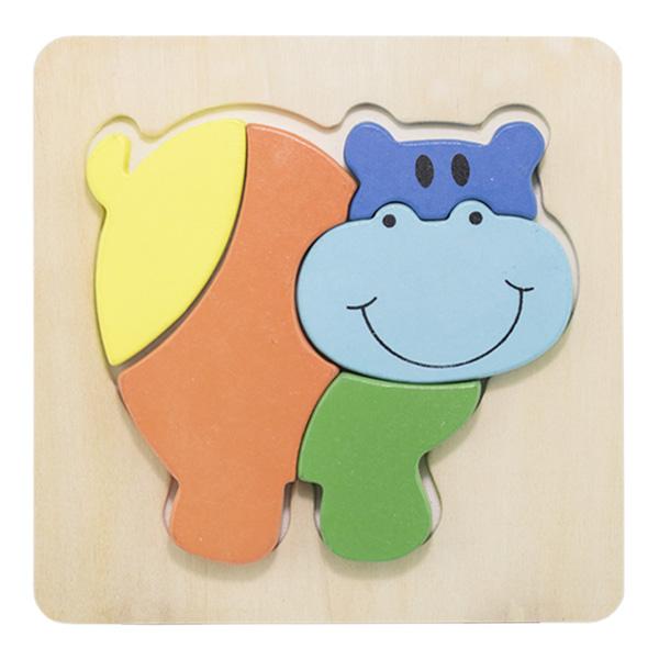 Hipopotam-Puzzle incastru din lemn Montessori [0]