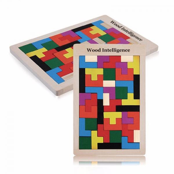 Joc de logica Tetris din lemn-aranjeaza formele geometrice Model Mare 4