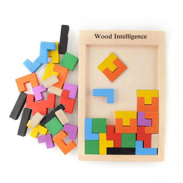 Joc de logica Tetris din lemn-aranjeaza formele geometrice Model Mare 3