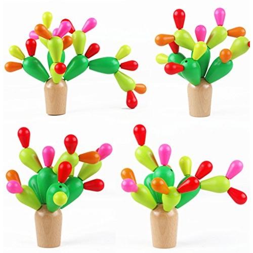 Cactus din lemn colorat-Jucarie de tip Montessori 0