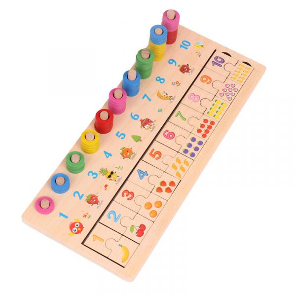 Joc din lemn de asociere numere stivuire si puzzle . [3]
