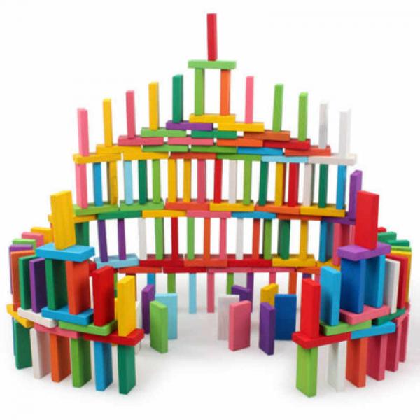Joc Domino din lemn cu 360 de piese colorate 2