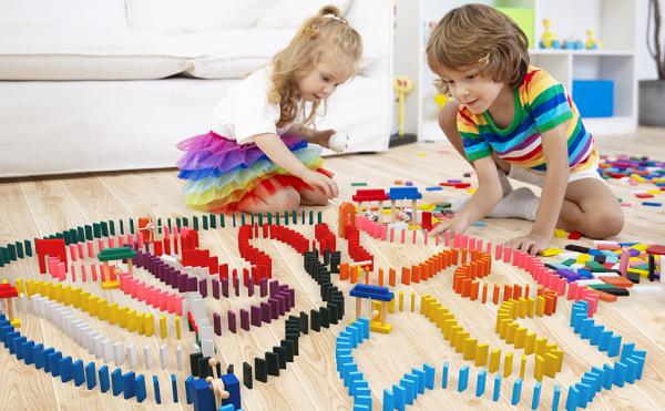 Joc Domino din lemn cu 360 de piese colorate 1