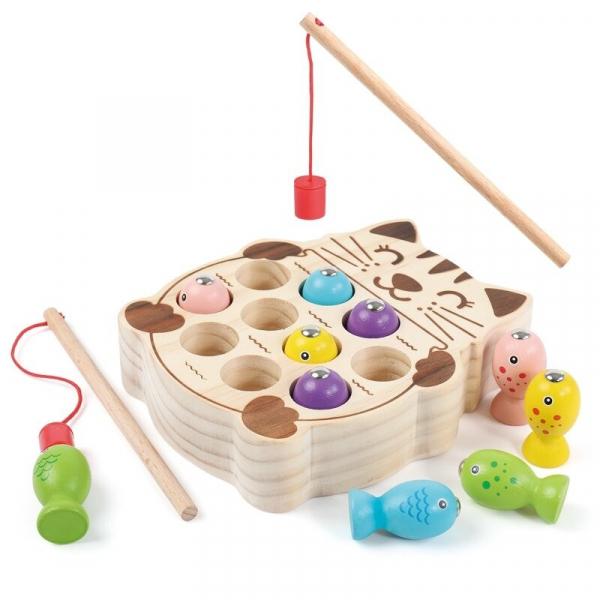 Pisicuta Joc Montessori de Pescuit din Lemn 2