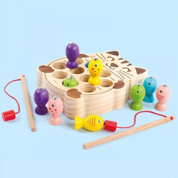 Pisicuta Joc Montessori de Pescuit din Lemn 1