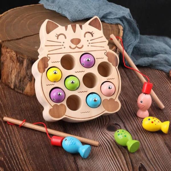 Pisicuta Joc Montessori de Pescuit din Lemn 0