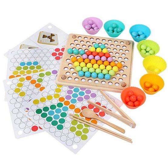 Joc Montessori de indemanare si asociere culori cu bile colorate si bete din lemn 0