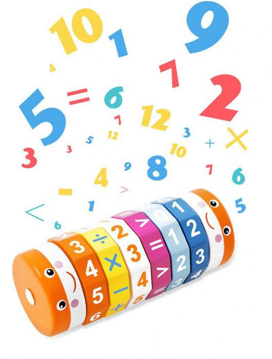 Cilindru din lemn pentru invatarea calculelor matematice -Joc Rubic de socotit [1]
