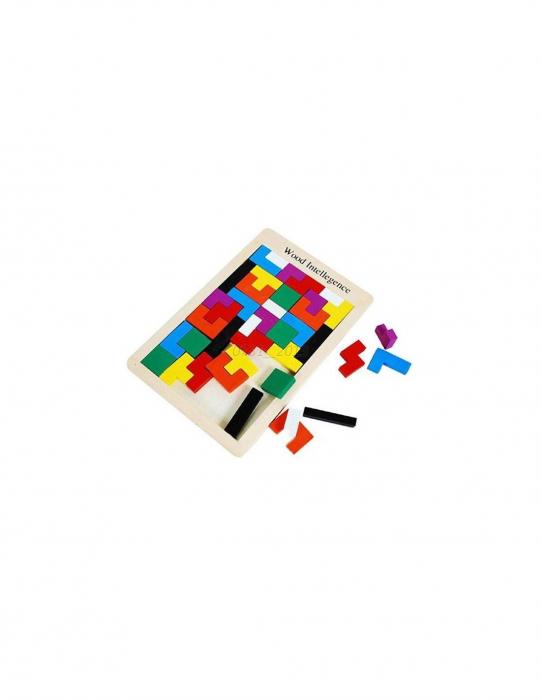 Joc de logica Tetris din lemn-aranjeaza formele geometrice Model Slim 5