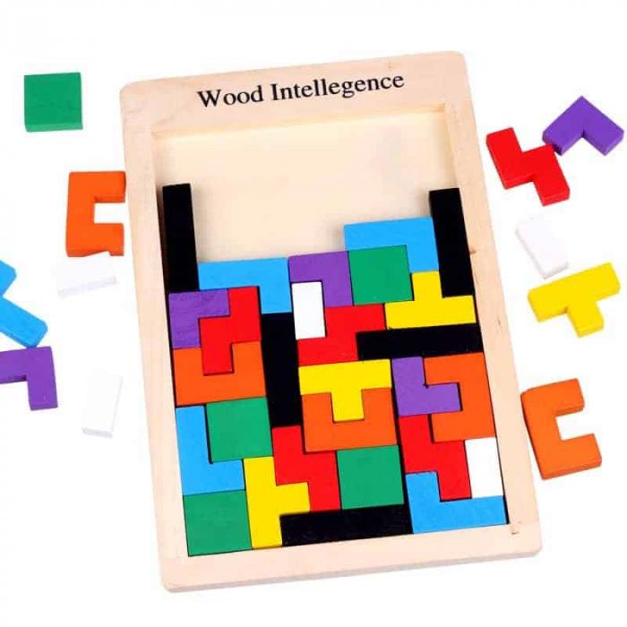 Joc de logica Tetris din lemn-aranjeaza formele geometrice Model Slim 6