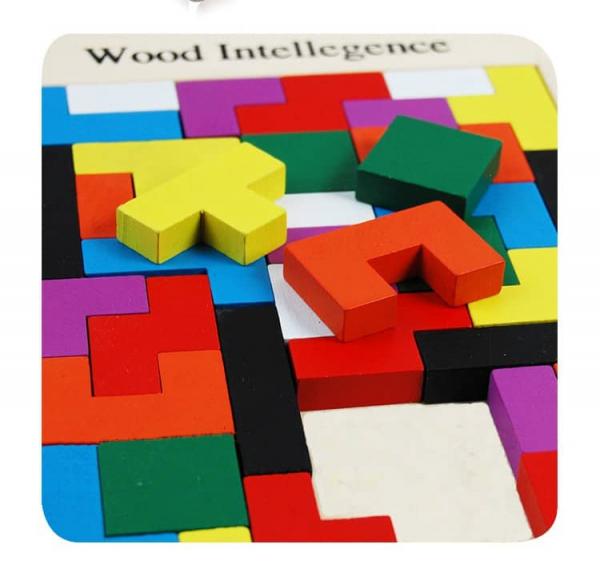 Joc de logica Tetris din lemn-aranjeaza formele geometrice Model Mare 7